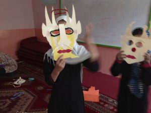 using masks they made